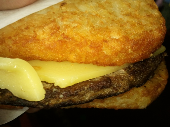 I also ordered hash brown burgers! (A beef patty sandwiched between hash browns.)