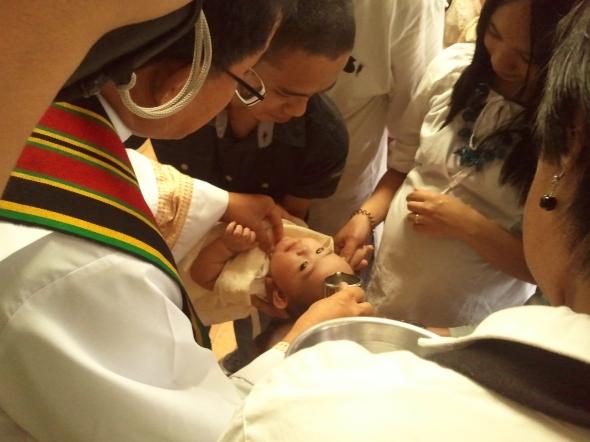 A Roman Catholic baptism.