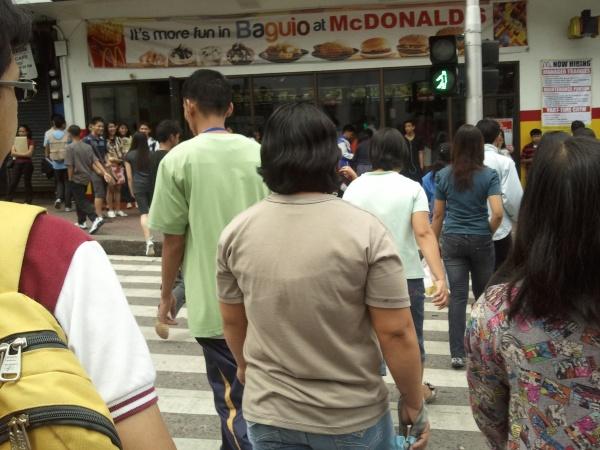 Walking among pedestrians.